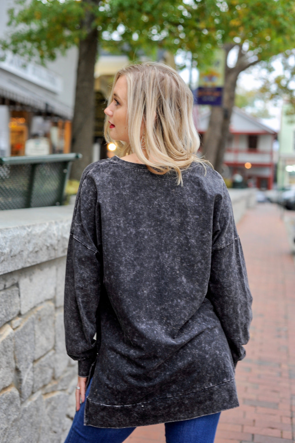 Mineral Wash Long Sleeve Top