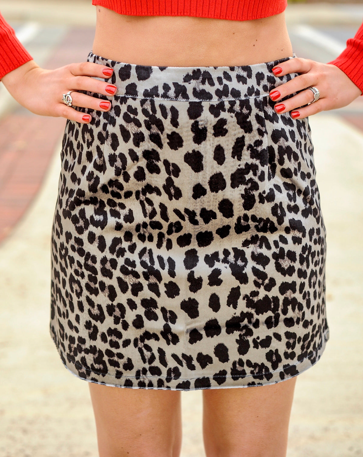 Silver Leopard Mini Skirt