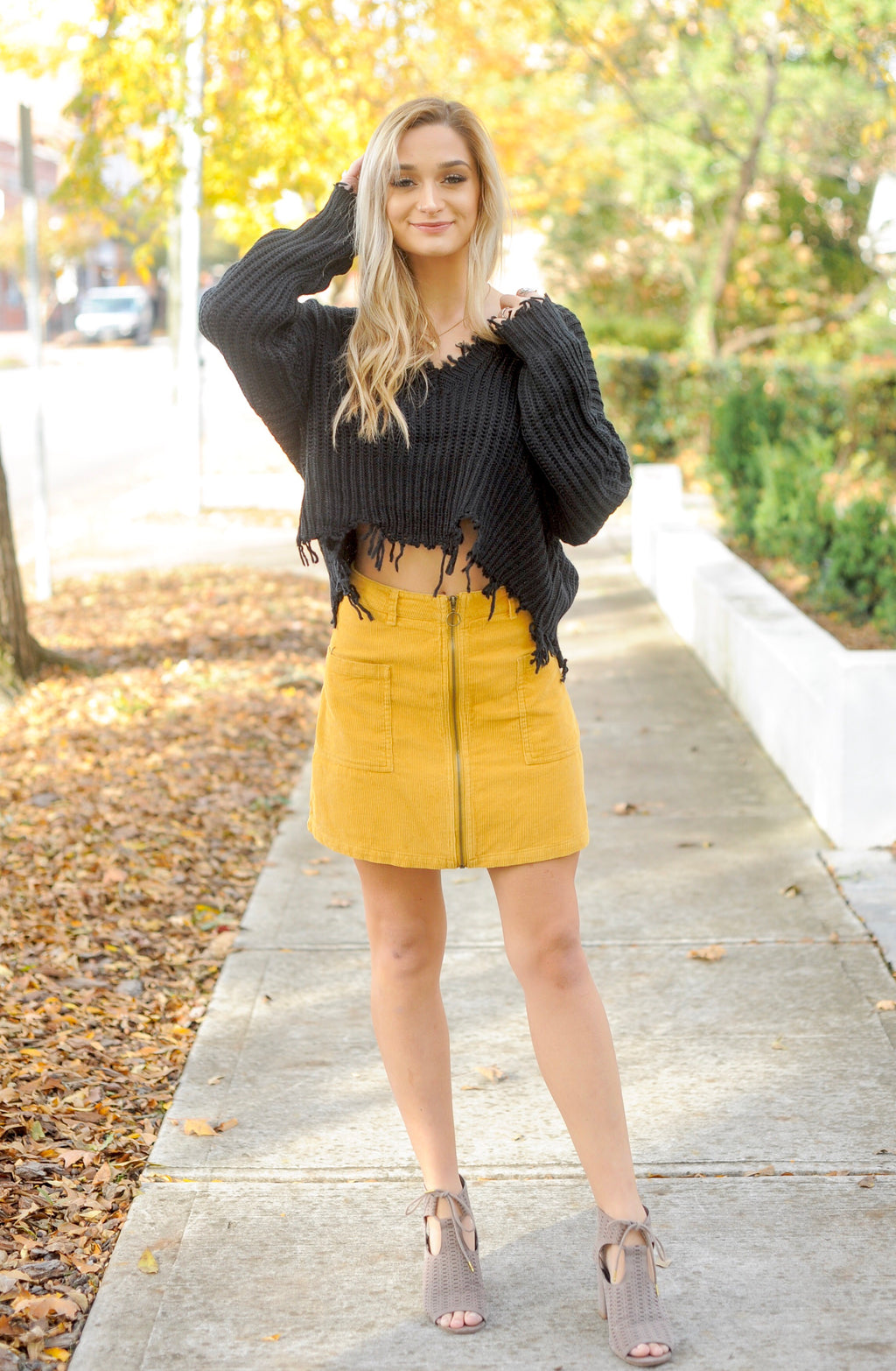 Mustard Zip Up Corduroy Skirt