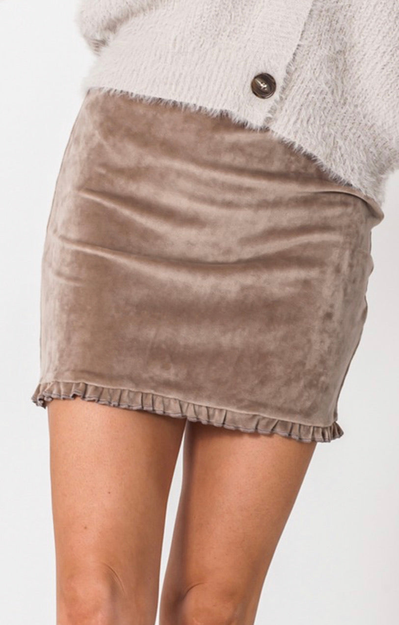 Stone Ruffle Hem Mini Skirt