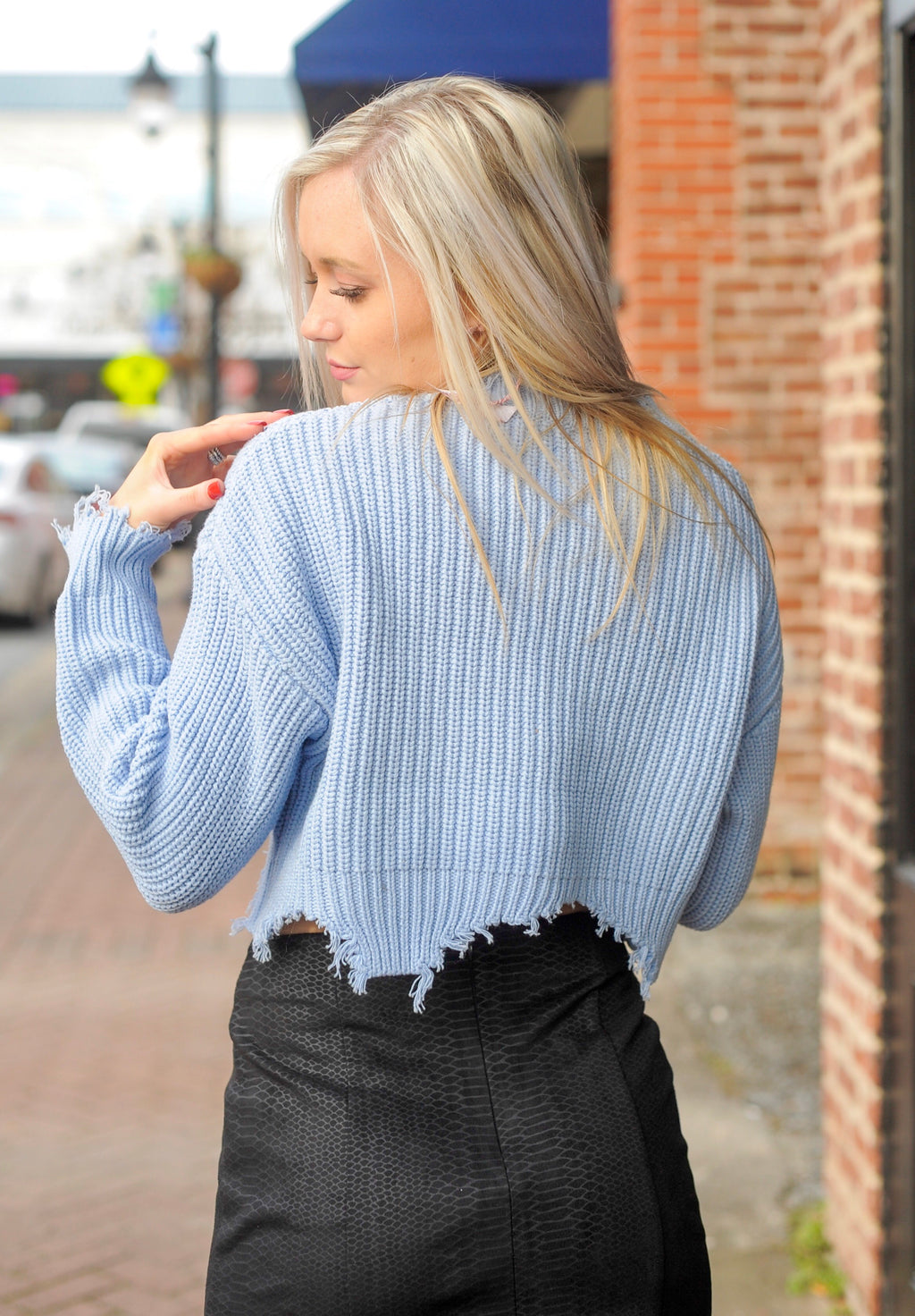 Distressed Knit Cropped Sweater - Baby Blue