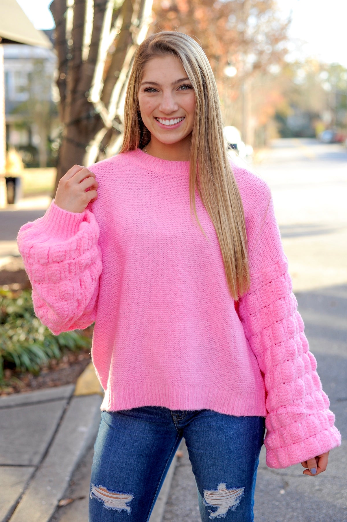 Pink Textured Bubble Sleeve Sweater