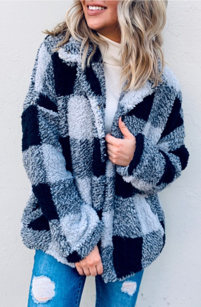 B&W Buffalo Plaid Faux Fur Jacket