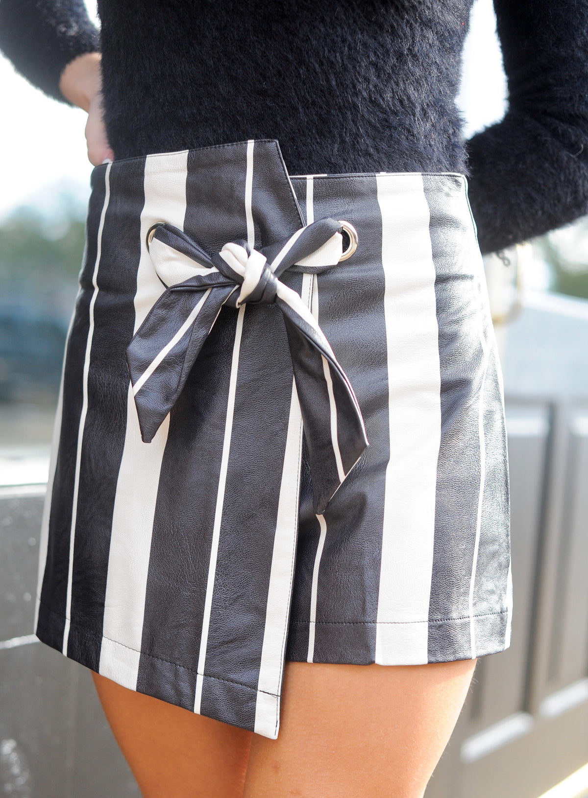 Striped Leather Wrap Skort