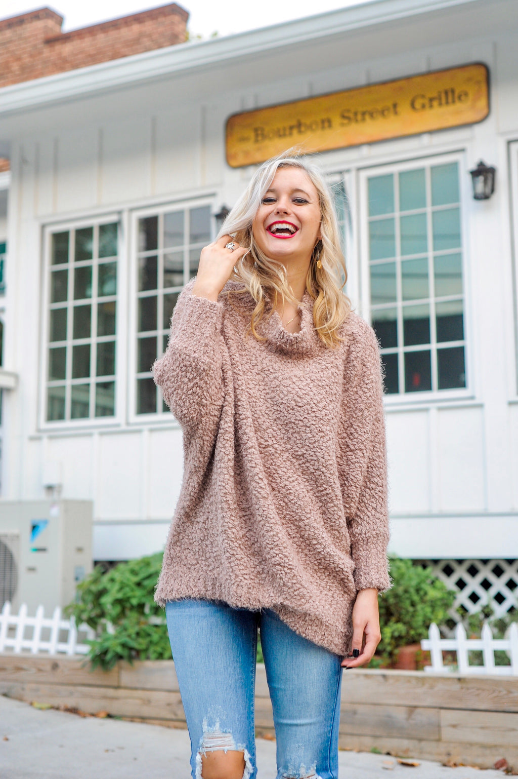 Popcorn Batwing Sweater- Cocoa