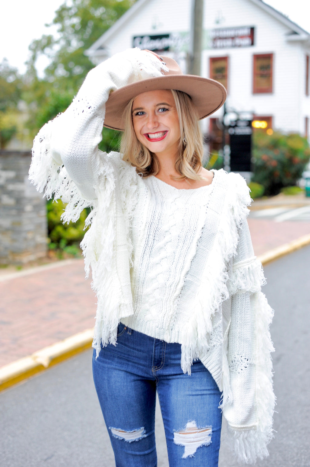 Cable Knit Fringe Sweater