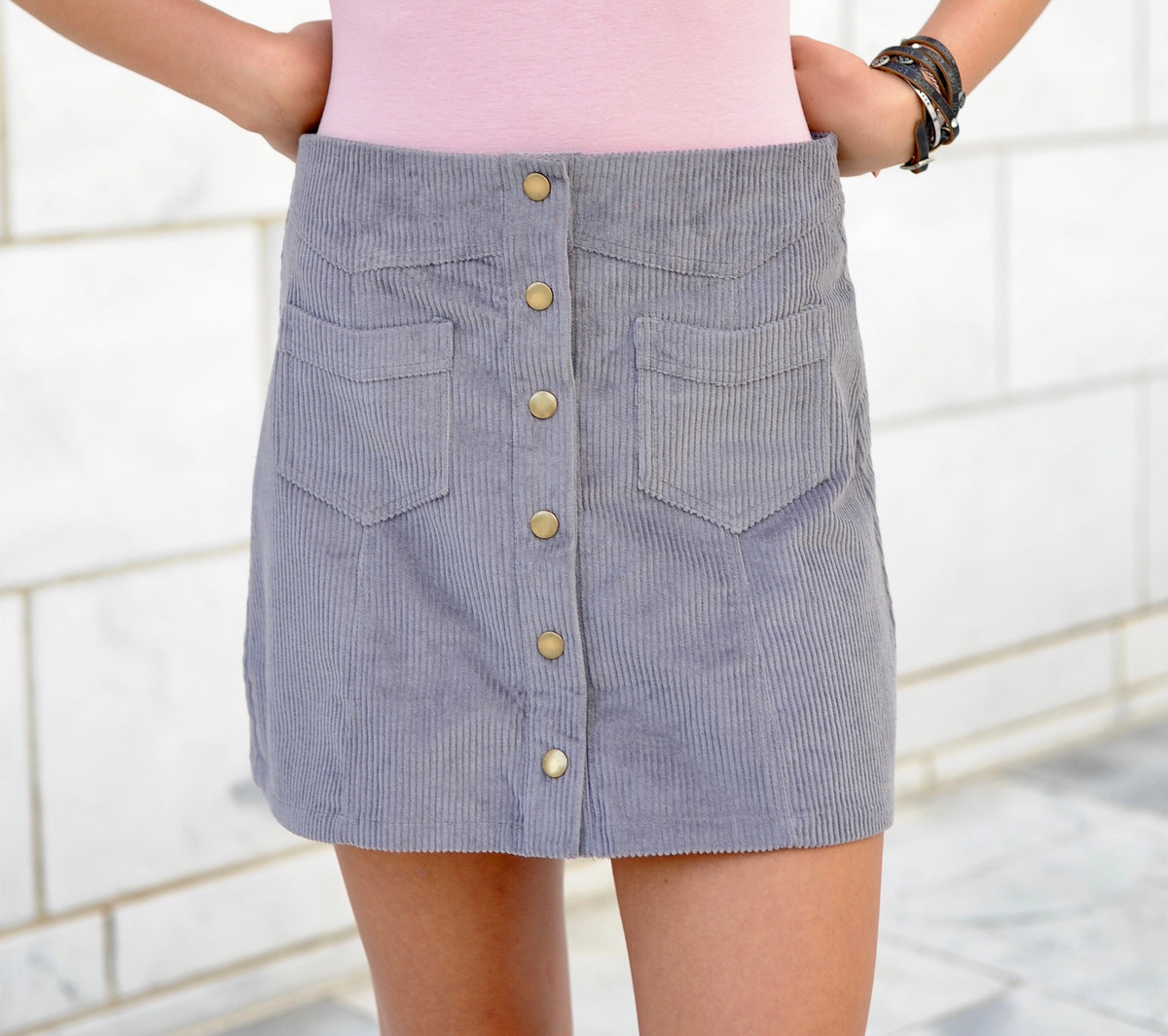 Button Up Corduroy Skirt- Grey