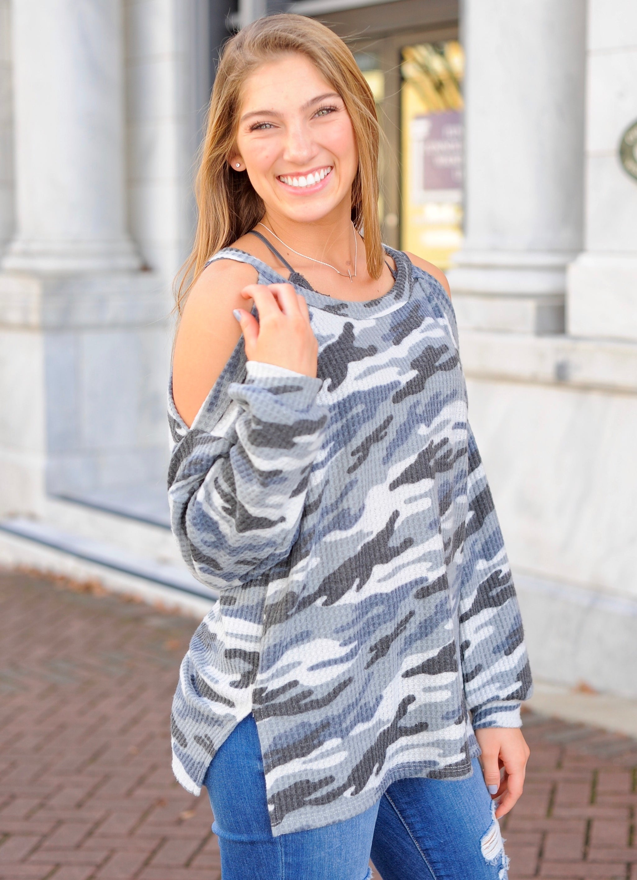 Cold Shoulder Camo Thermal Top