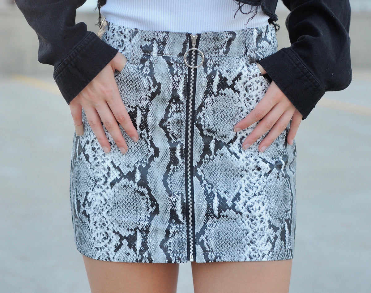 Snakeskin Leather Skirt