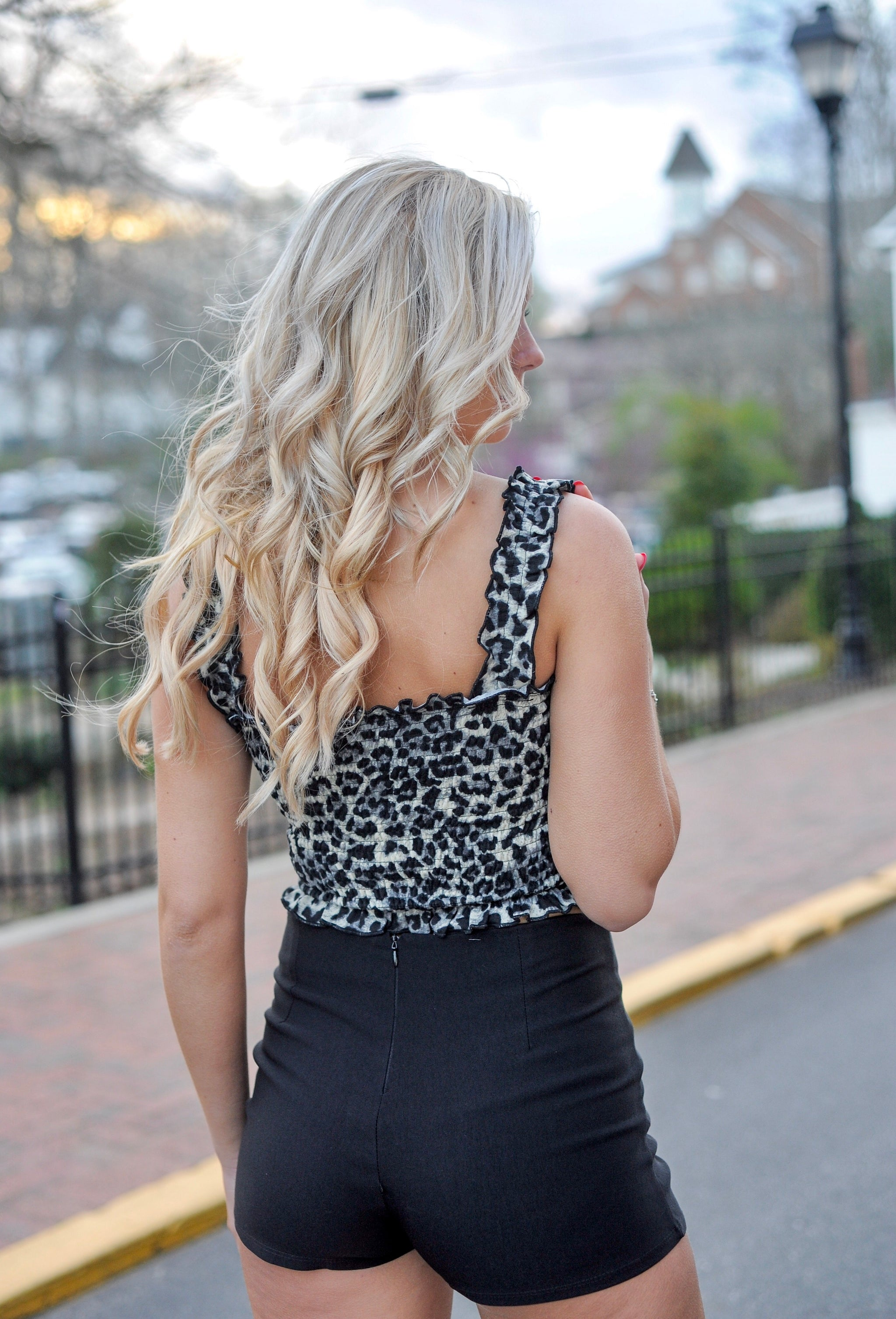 Leopard Smocked Cropped Tube Top