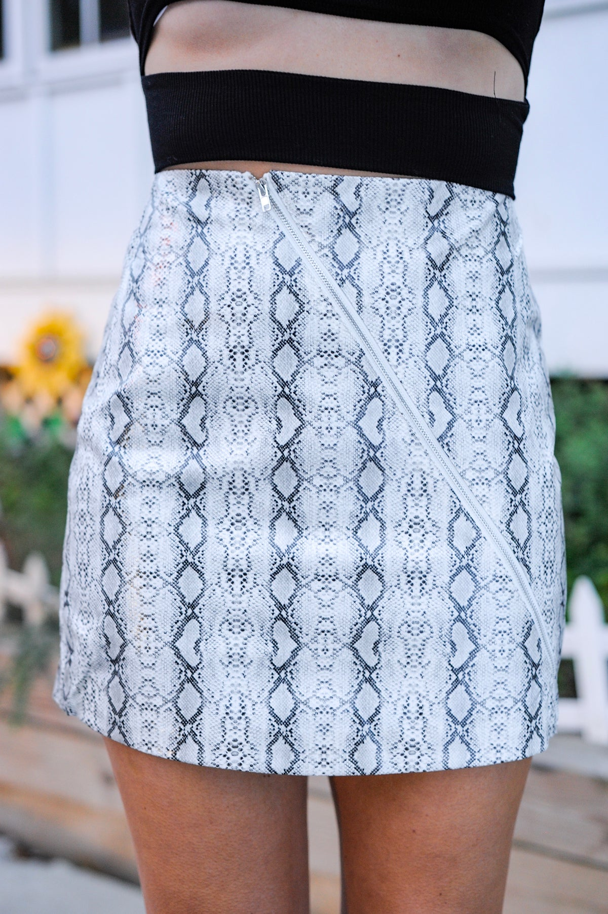 Diagonal Zip Snakeskin Skirt