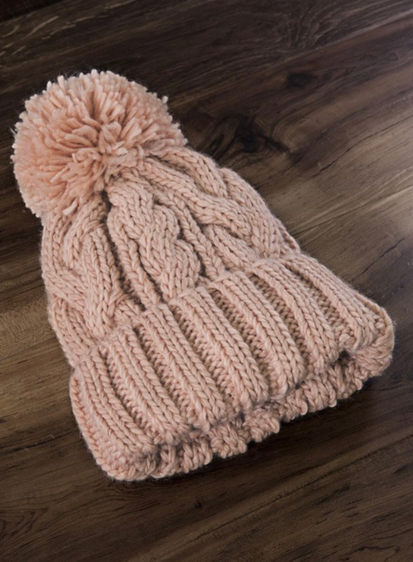 Dusty Pink Cable Knit Beanie