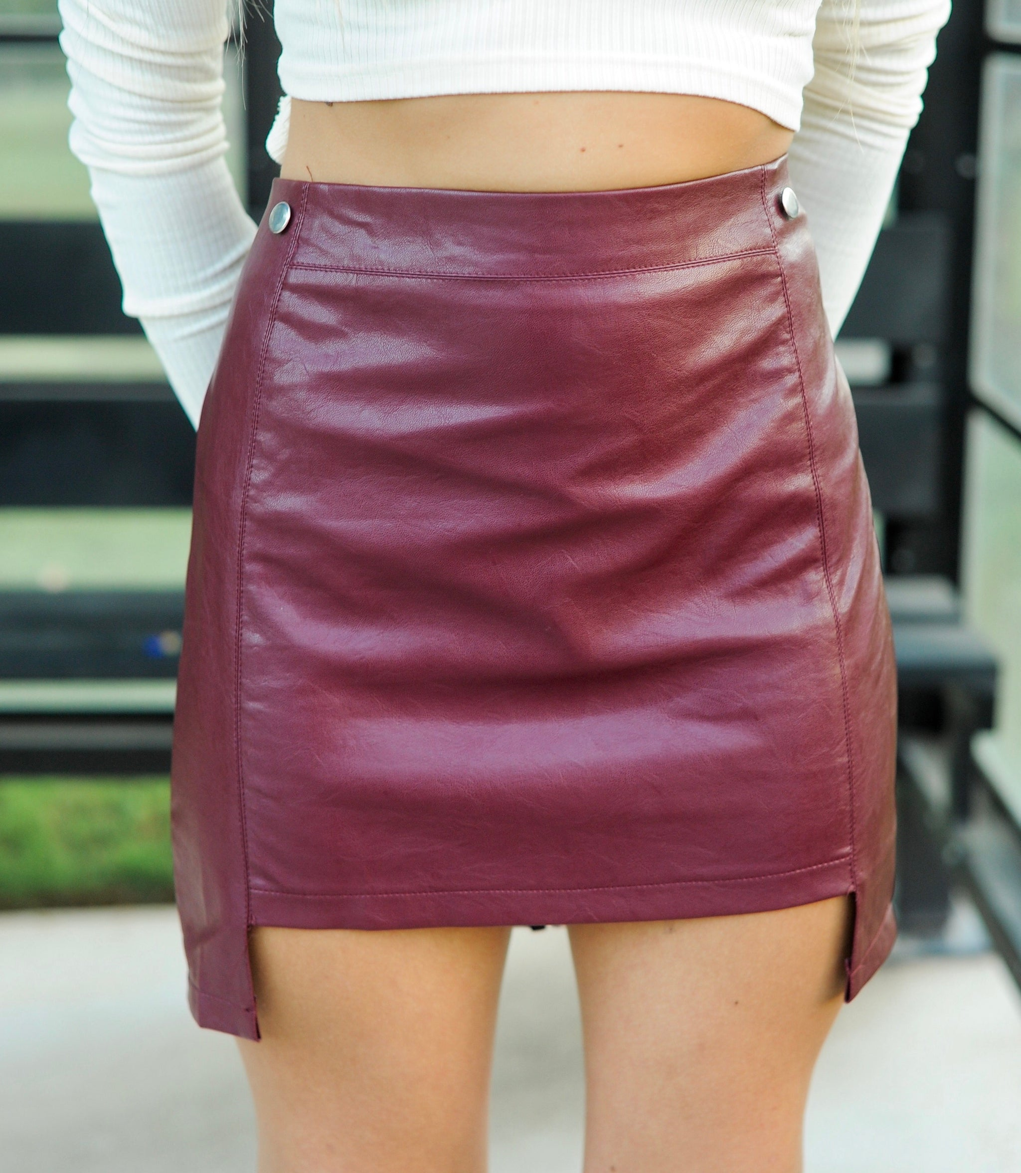 Burgundy Hi-Low Leather Skirt