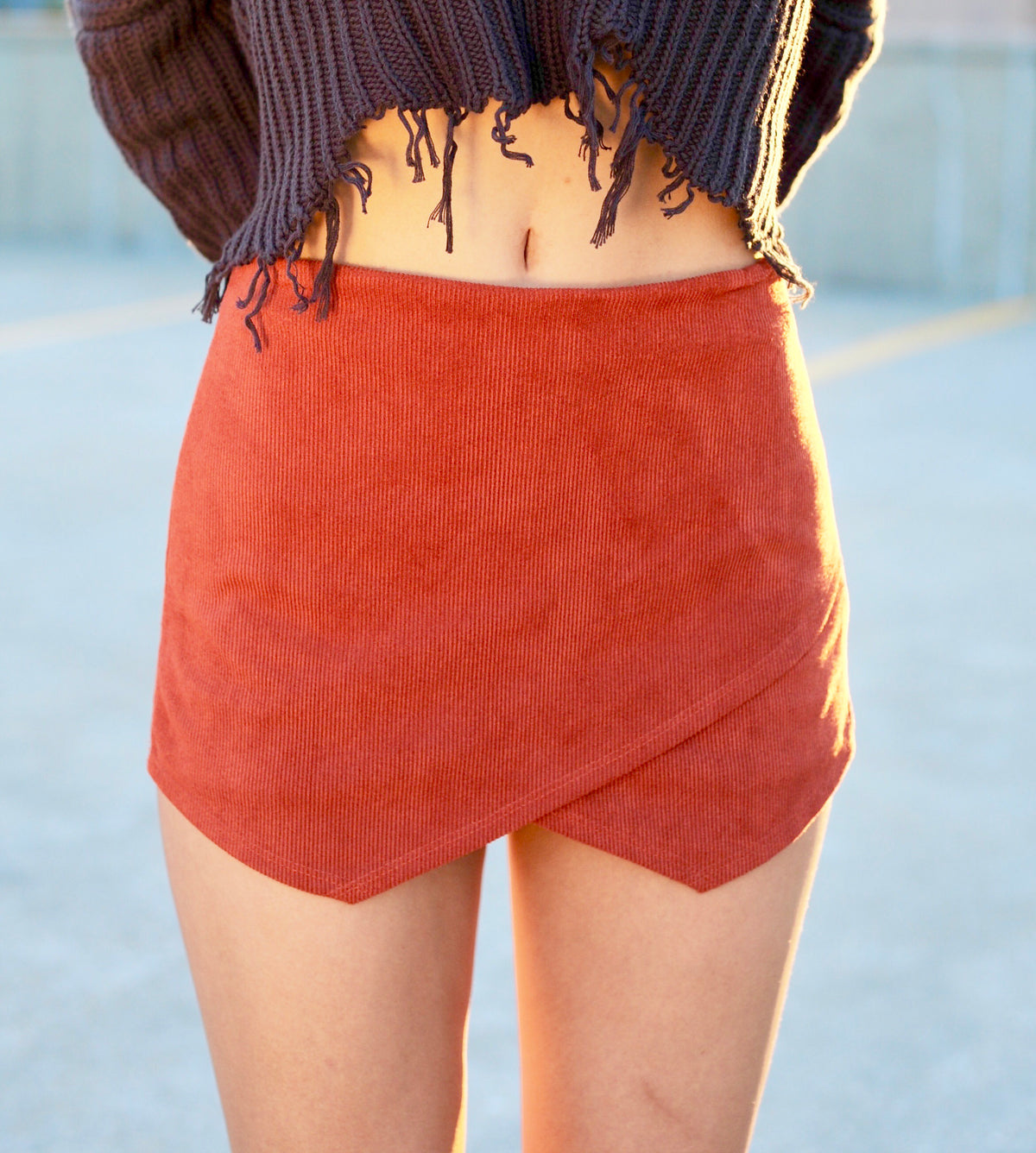 Corduroy Envelope Skort - Burnt Orange