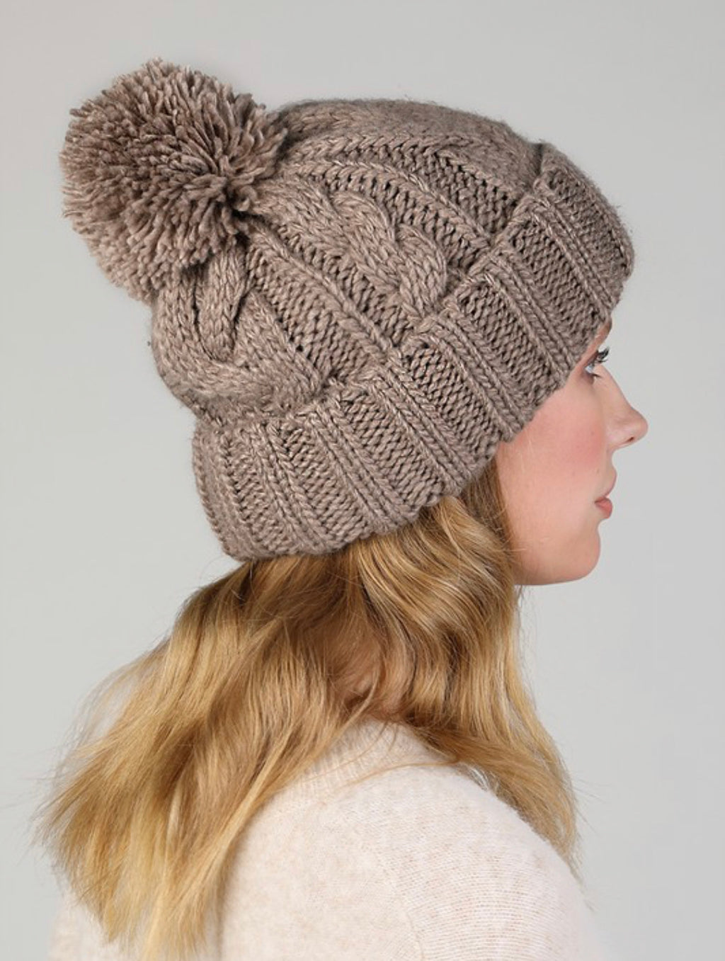 Mocha Cable Knit Beanie