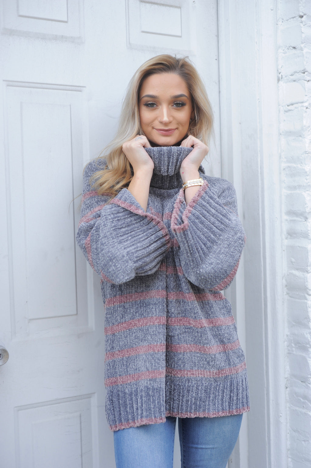Striped Bell Sleeve Turtle Neck Sweater