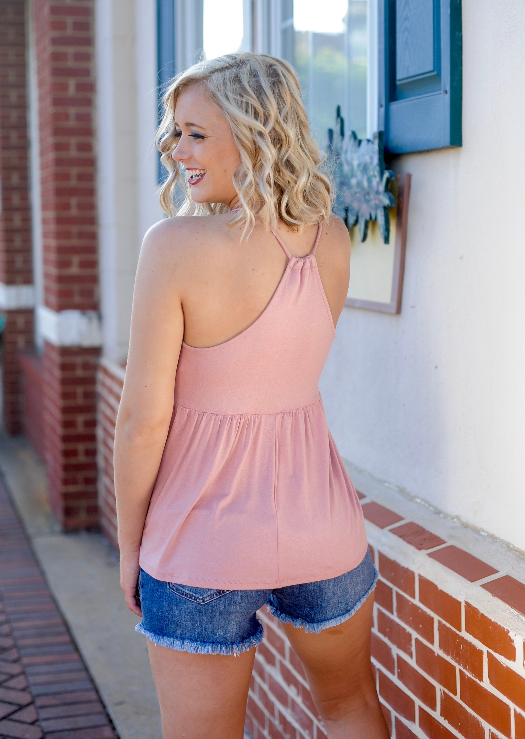 V Neck Racerback Tank Top - Pink
