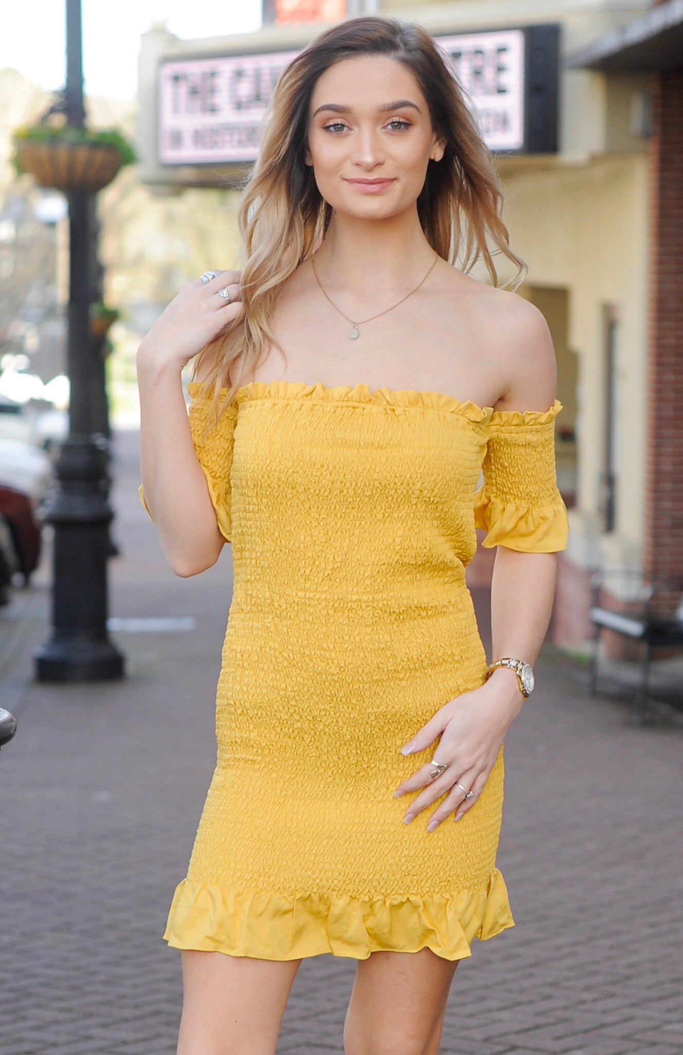 Yellow Smocked OTS Dress