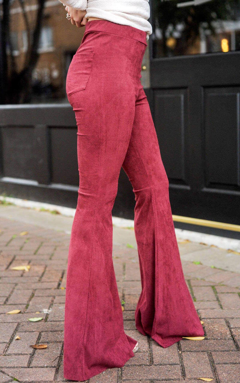 Berry Stretch Corduroy Bell Bottom Pants