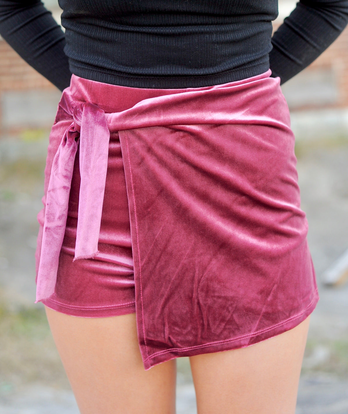 Vintage Rose Velvet Wrap Skirt