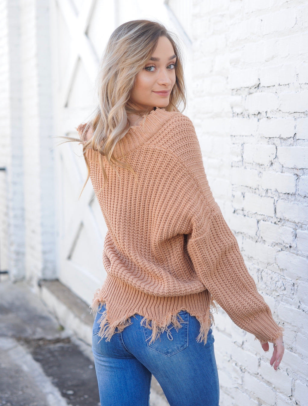 Frayed V Neck Sweater - Tan