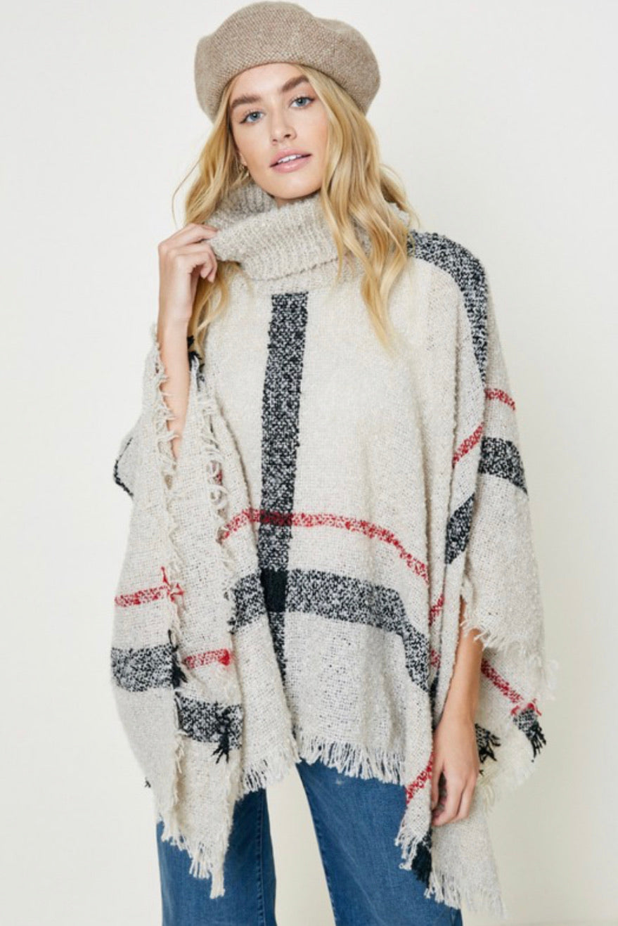 Plaid Turtle Neck Sweater Poncho