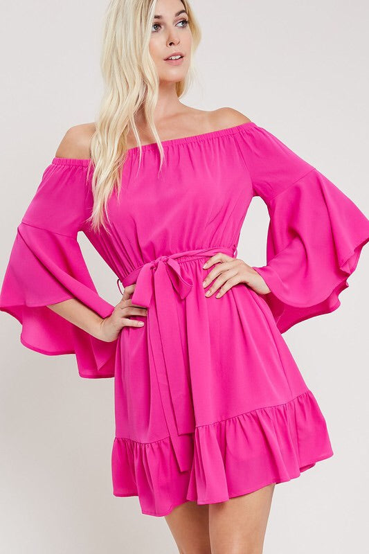 OTS Bell Sleeve Ruffle Dress - Fuchsia