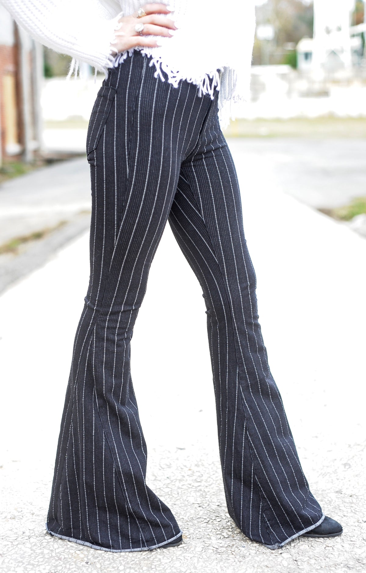 B&W Striped Bell Bottom Jeans