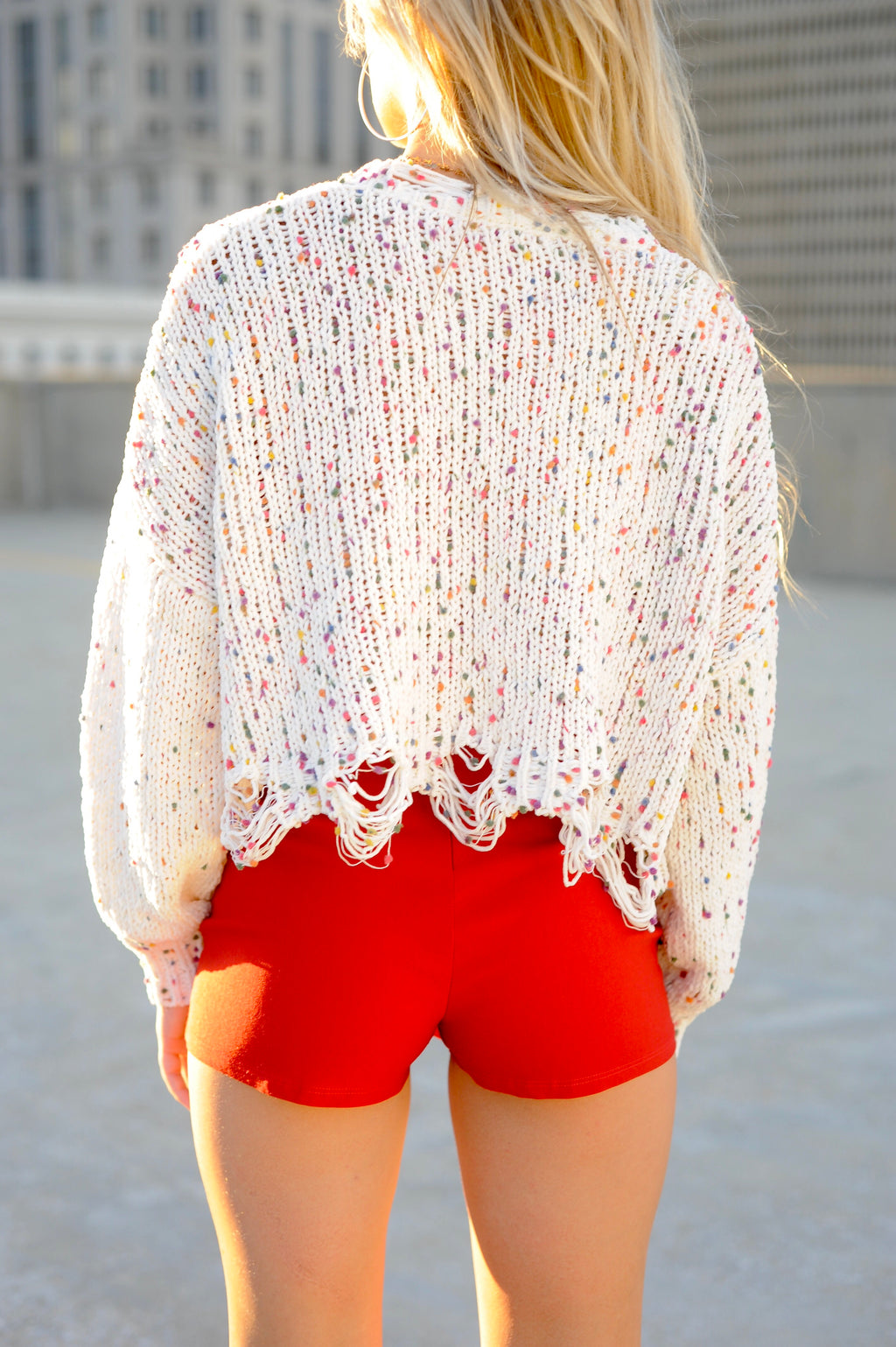Confetti Distressed Sweater- Cream