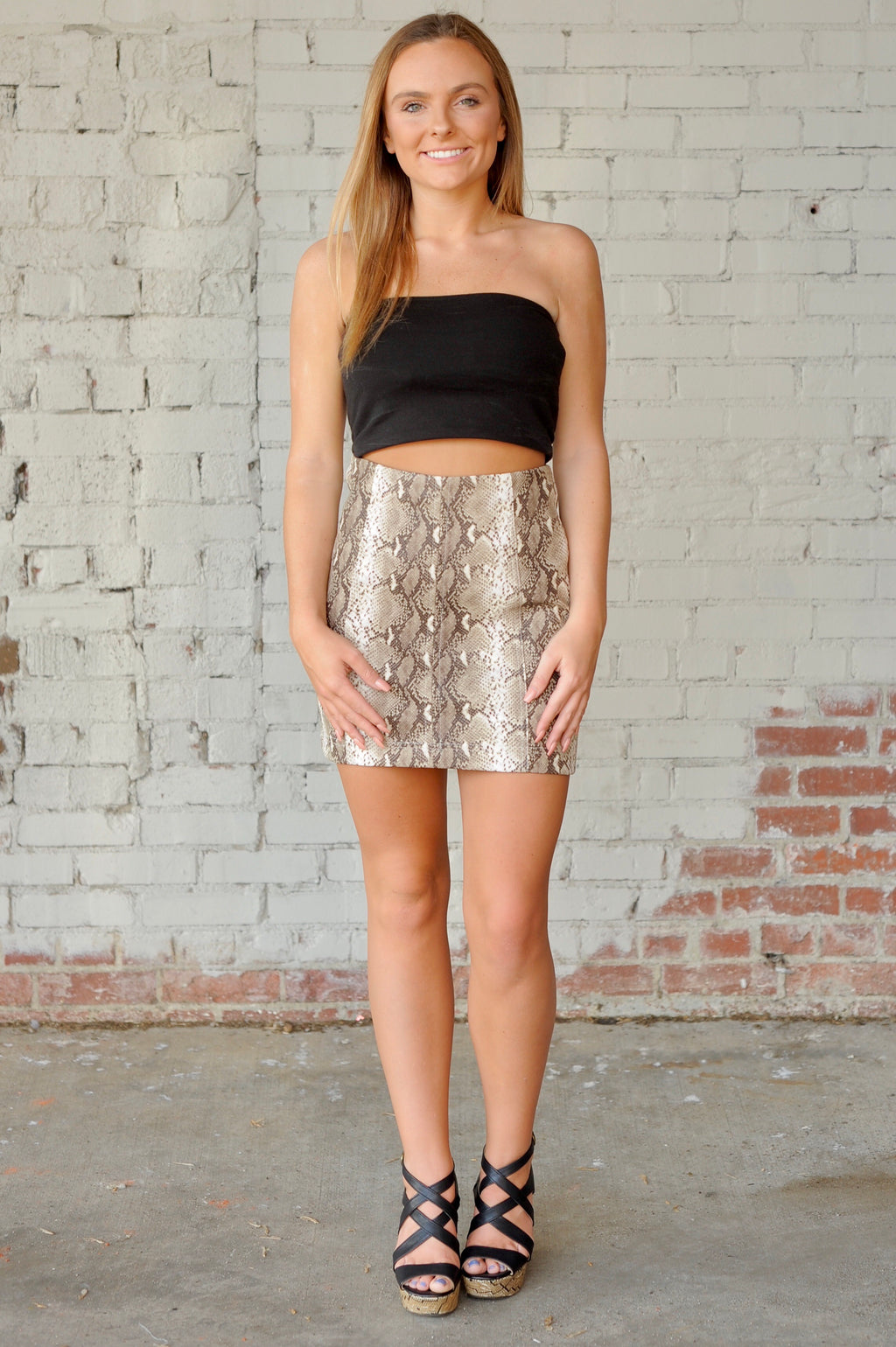 Snakeskin Mini Skirt - Tan