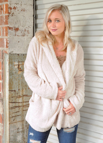 Women's Hooded Fleece Cardigan- Beige