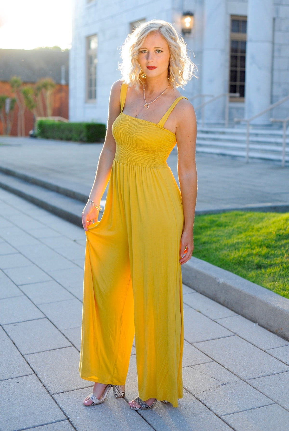 Smocked Yellow Jumpsuit