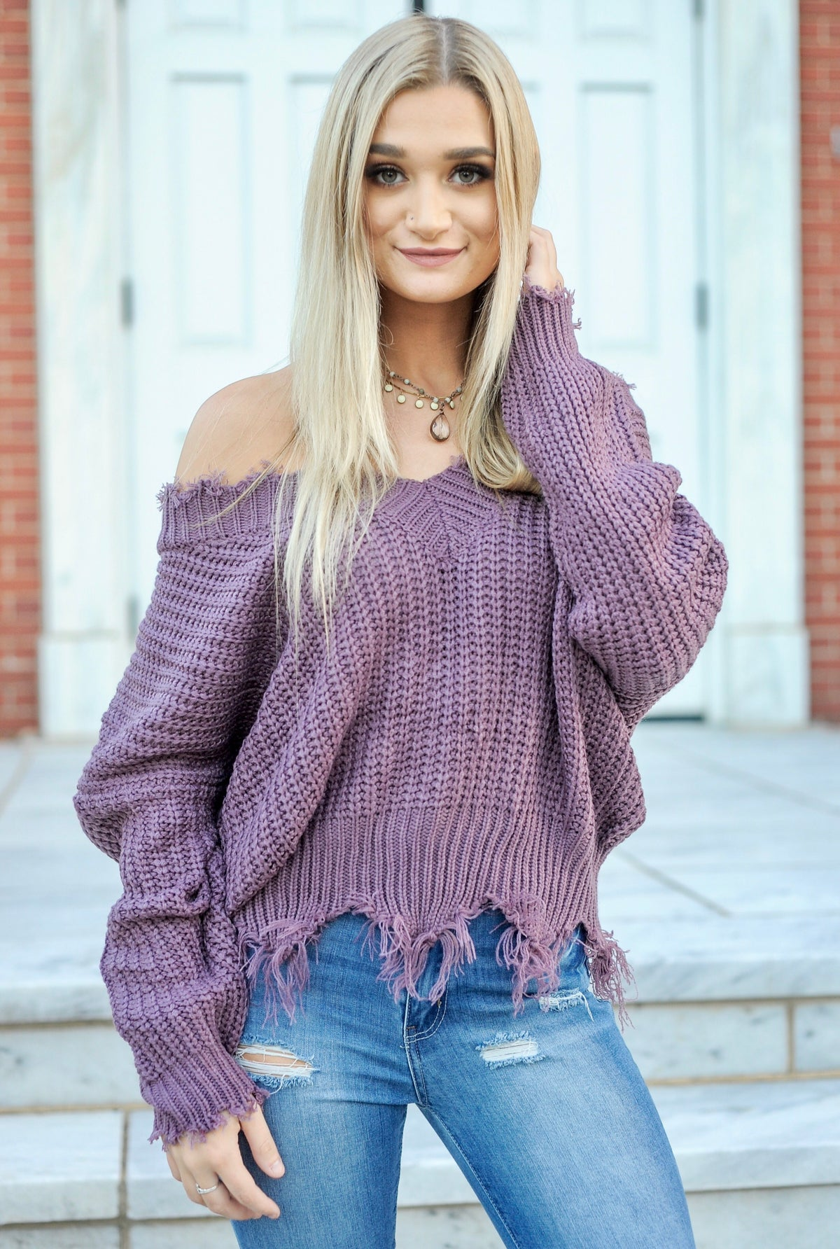 Frayed V Neck Sweater - Lavender