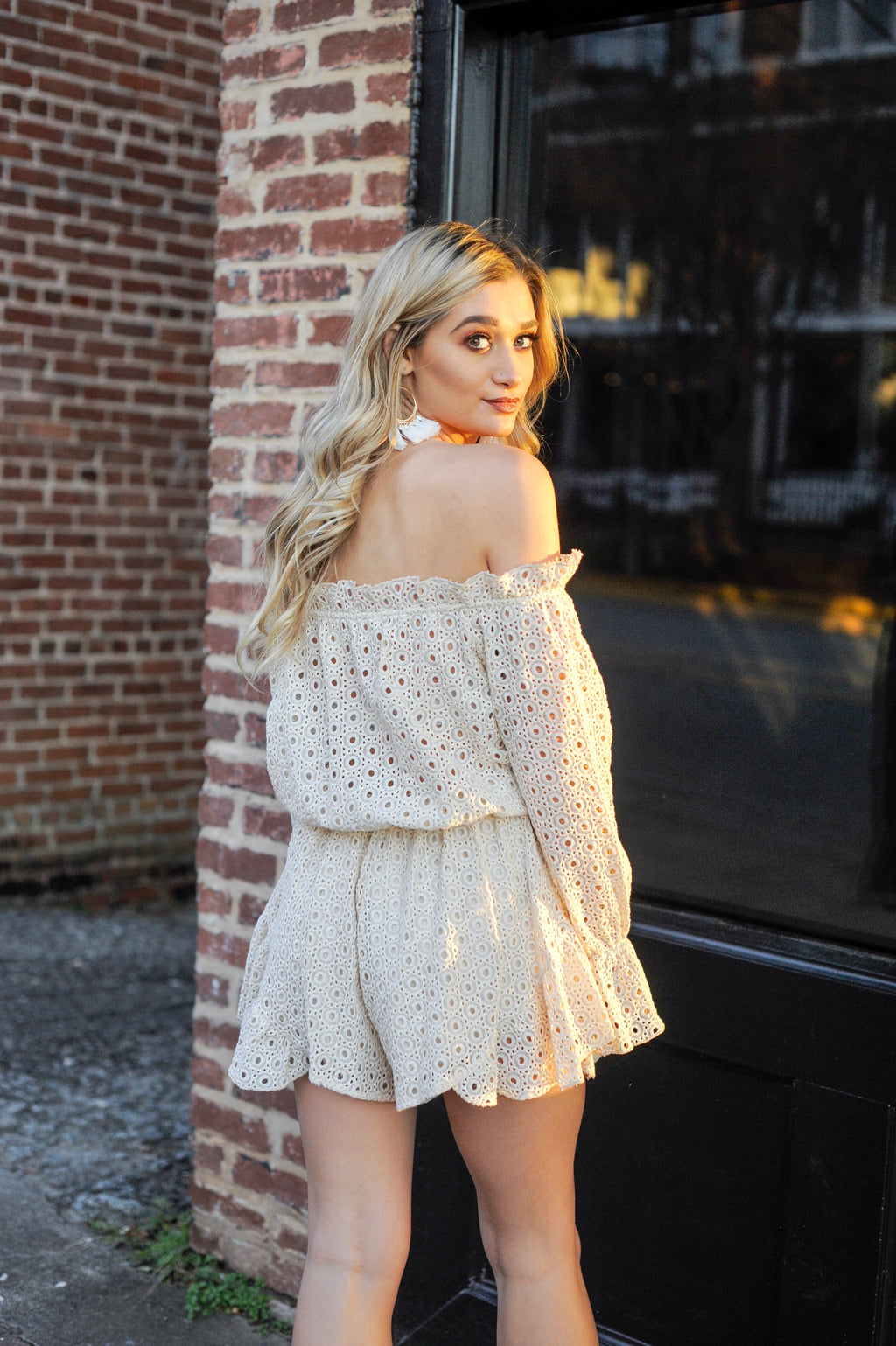 Off The Shoulder Eyelet Romper