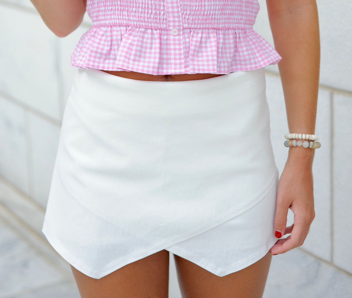 Basic Envelope Skort- White