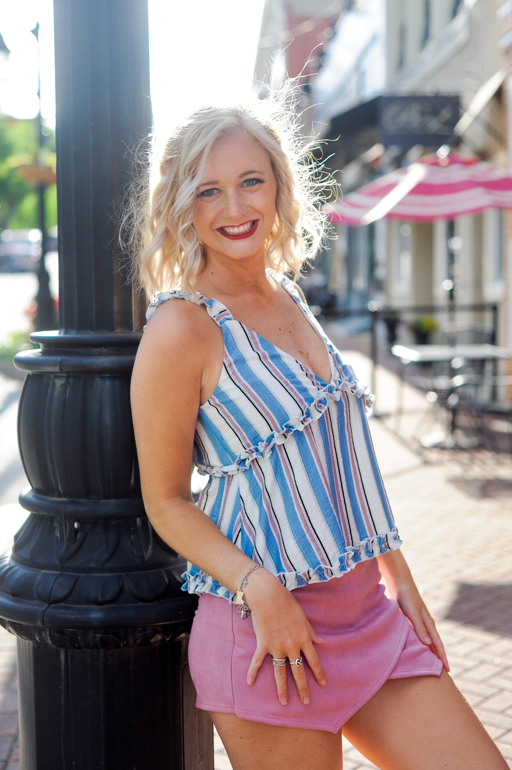 Blue/Pink Striped Tank Top