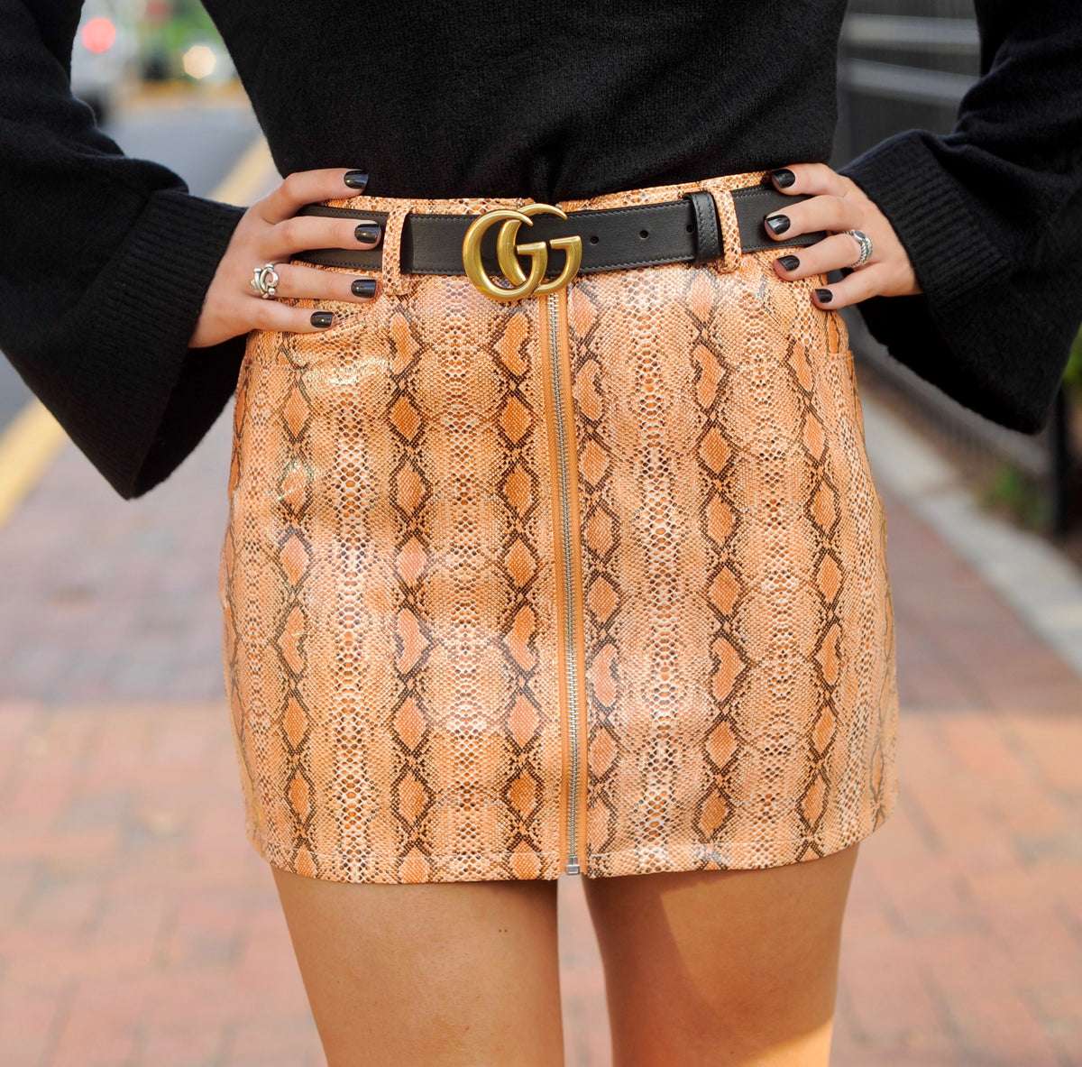 Orange Leather Snakeskin Skirt