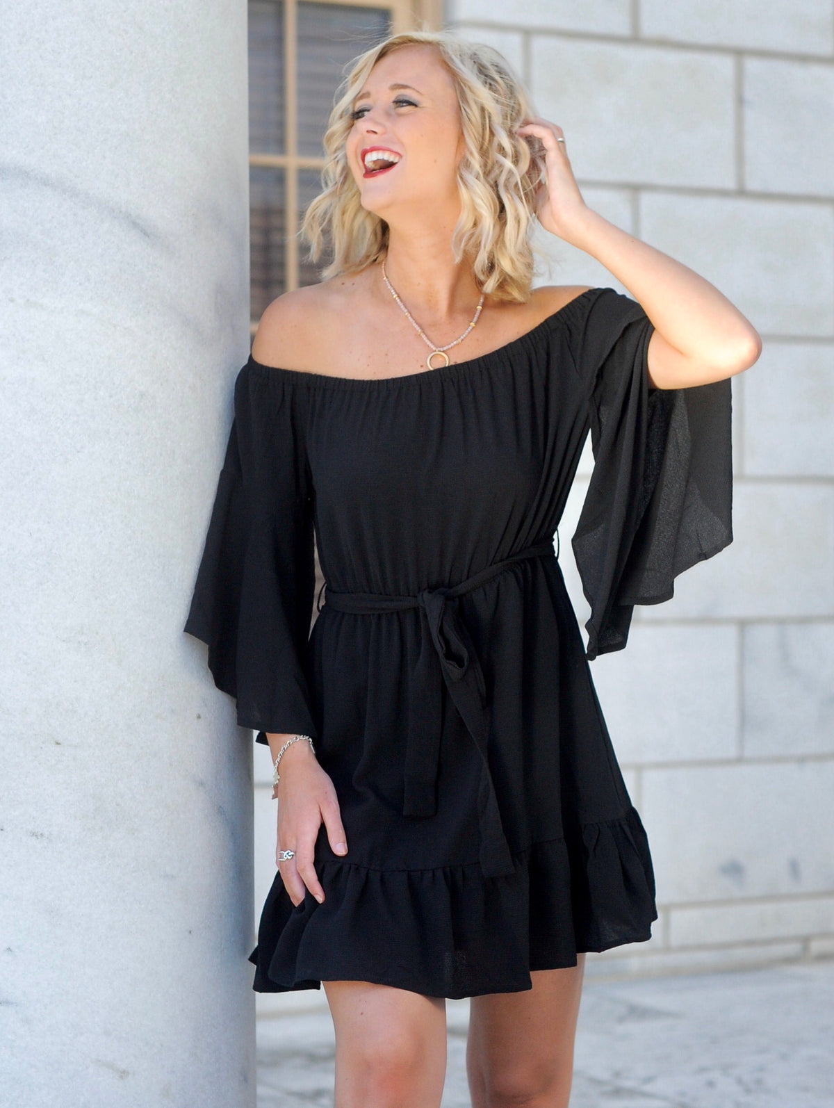 OTS Bell Sleeve Ruffle Dress - Black