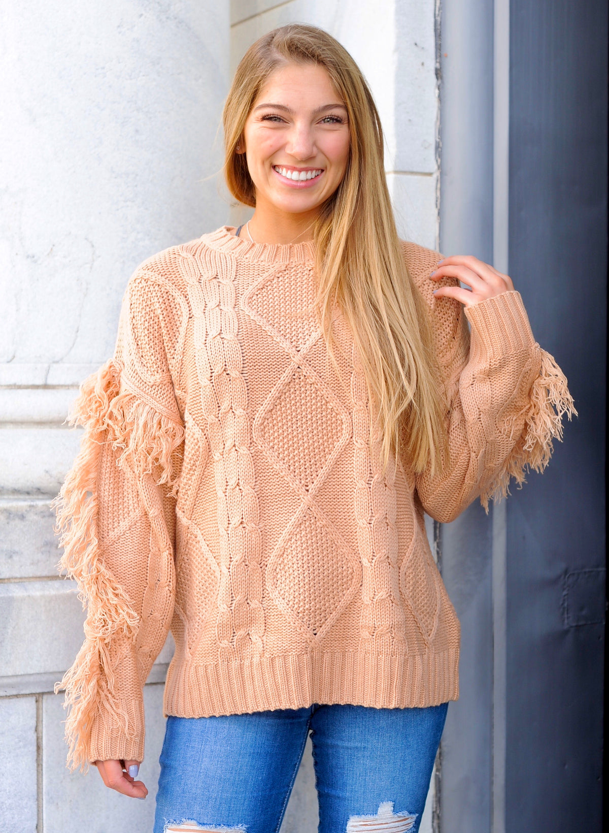 Peach Fringe Sweater