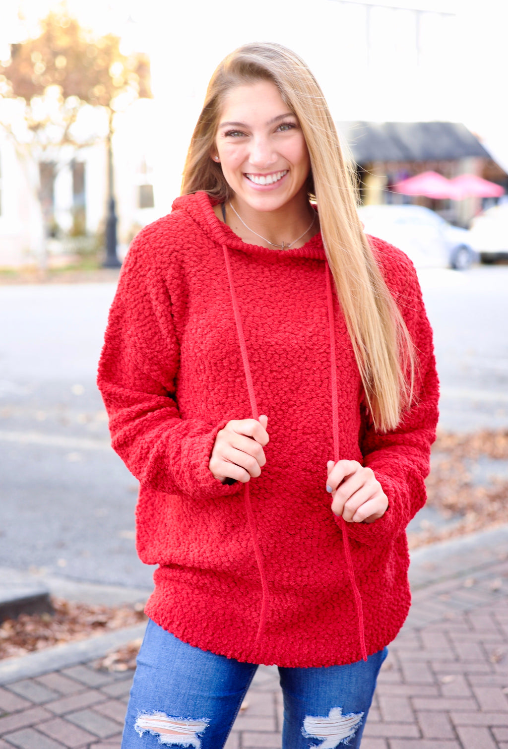 Popcorn Hooded Pullover - Red