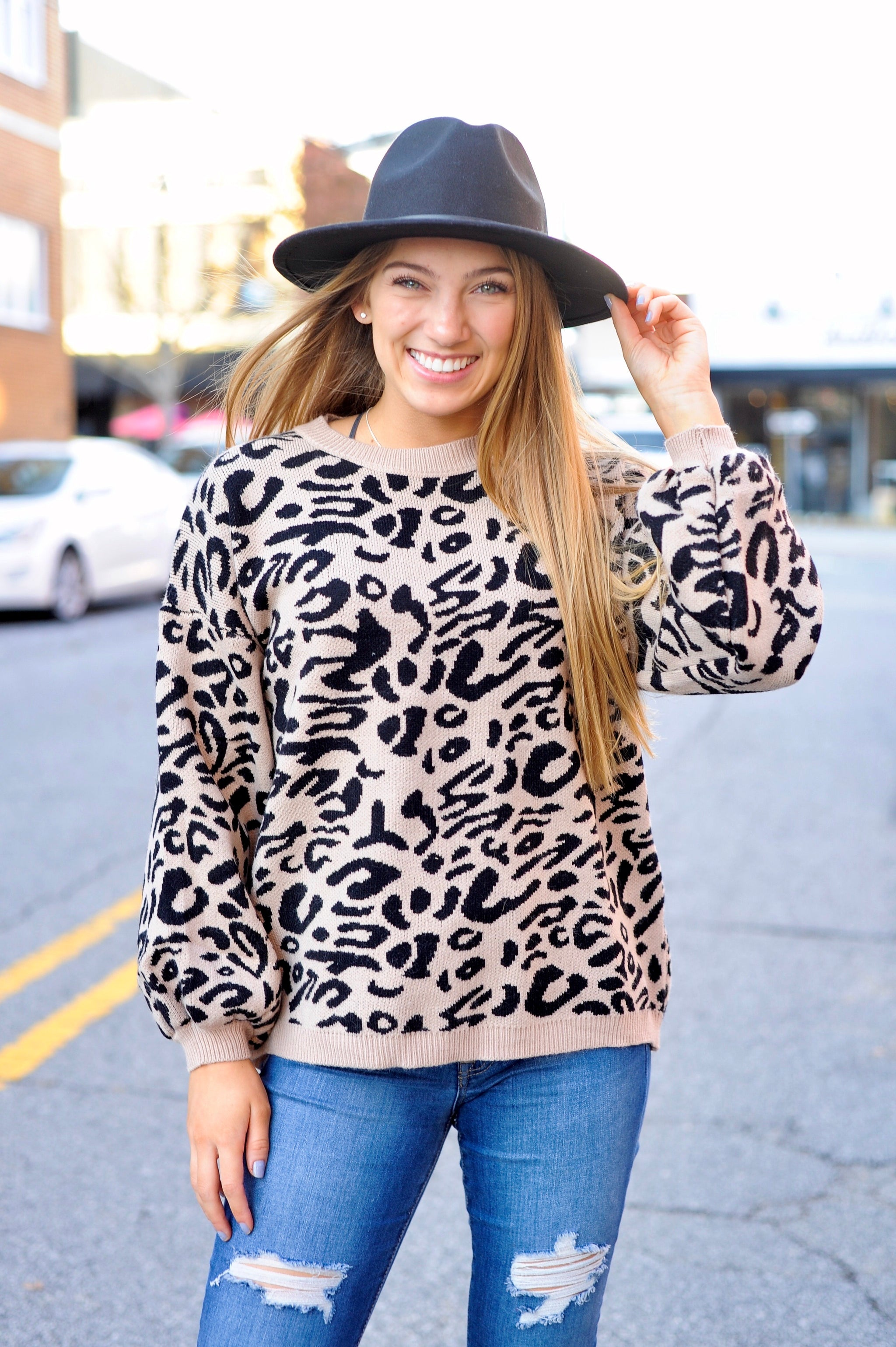 Leopard Printed Sweater - Black