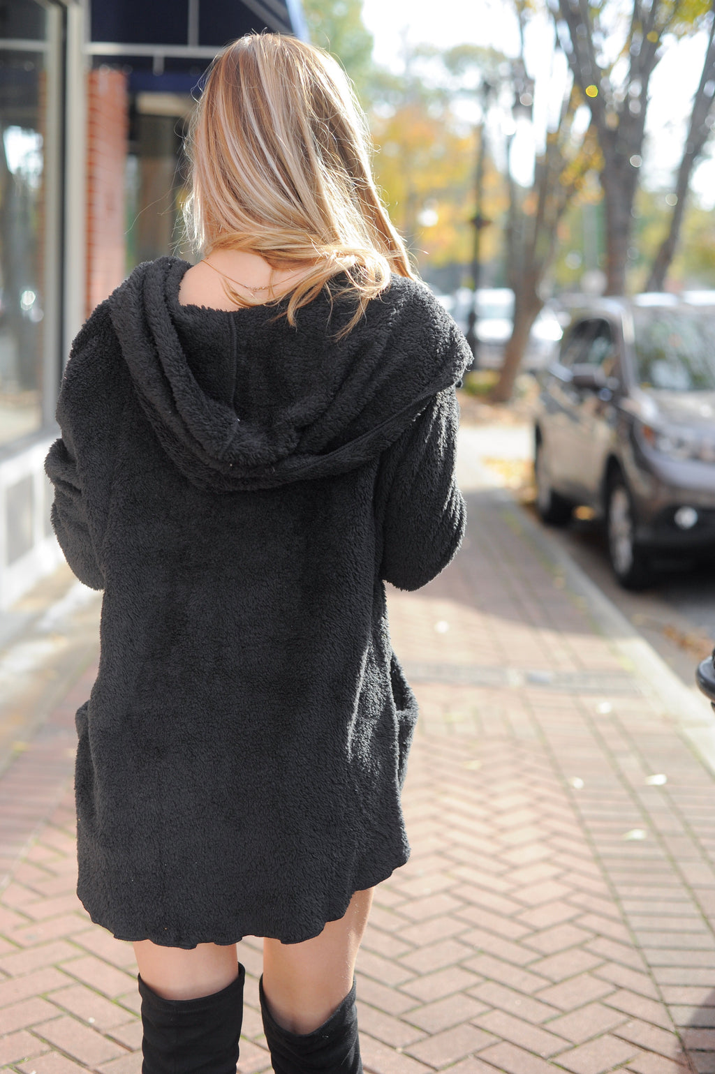 Hooded Fleece Cardigan- Black