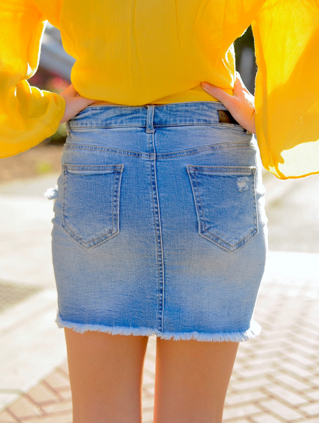 Diagonal Frayed Mini Skirt