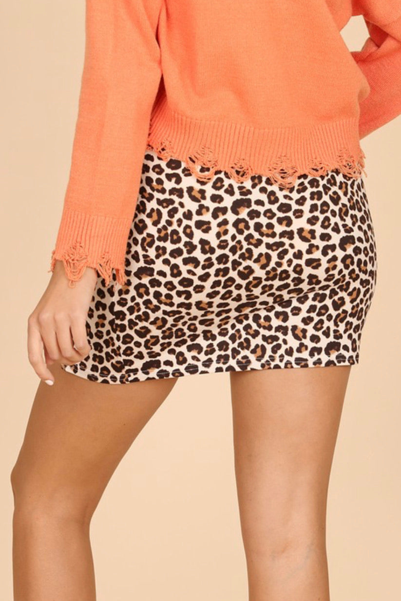Leopard Side Slit Skirt