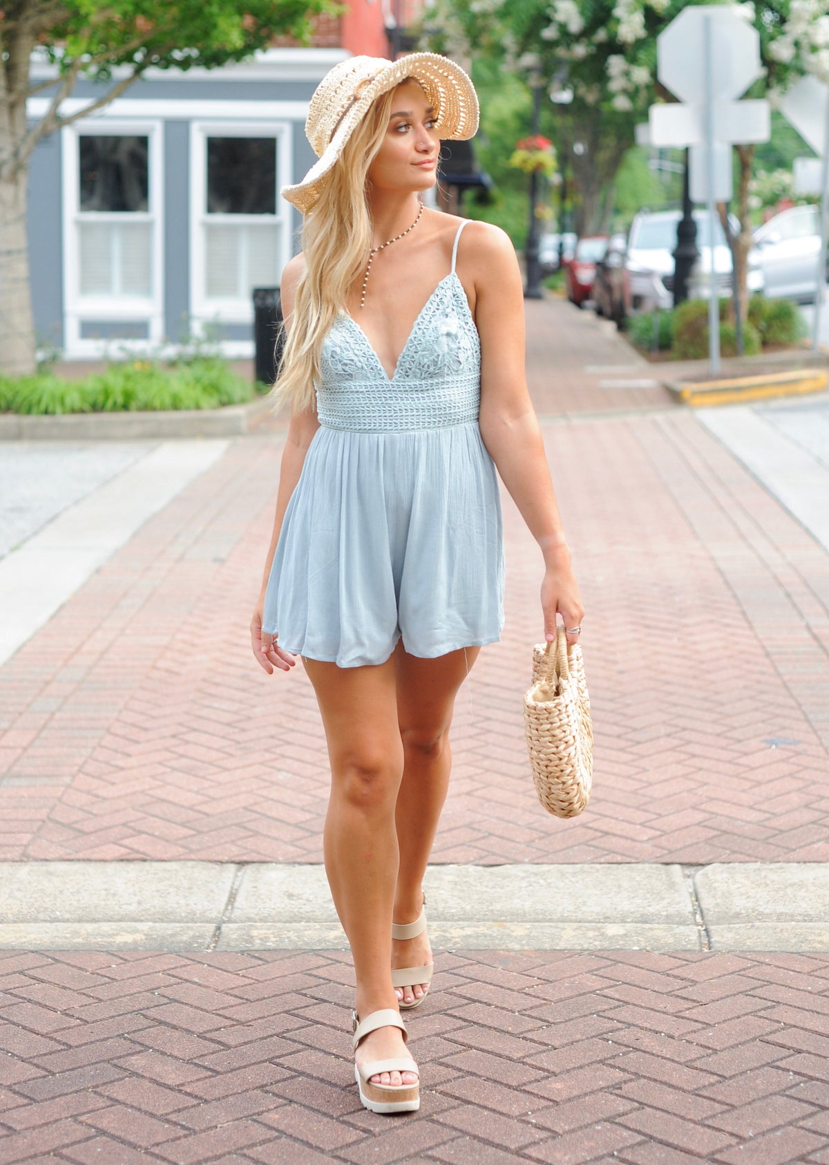 Mint Crochet Embroidered Romper