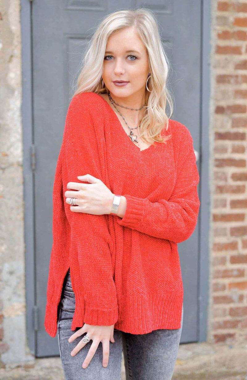 Red Hi Low Chenille Sweater