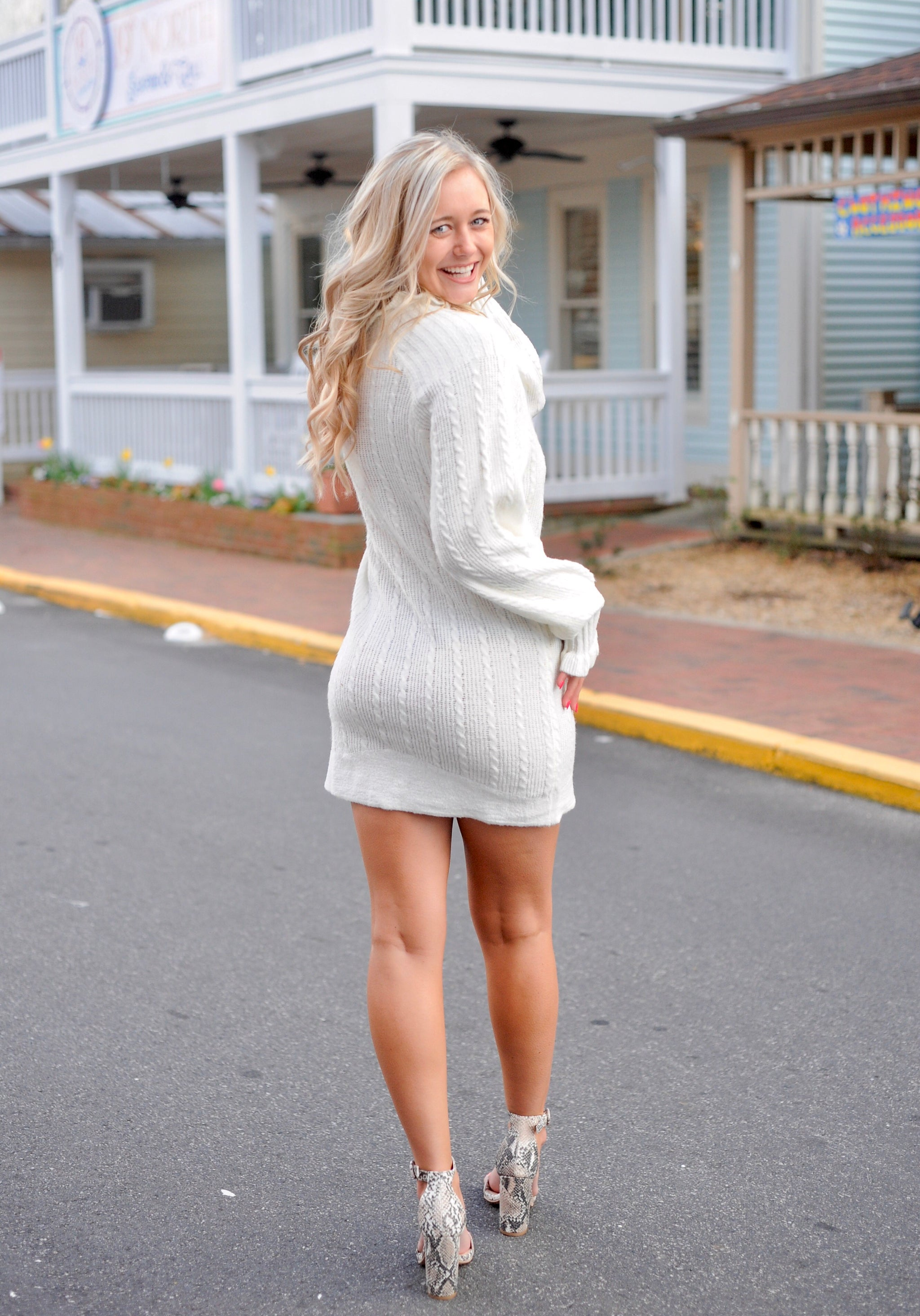 Ivory High Neck Sweater Dress