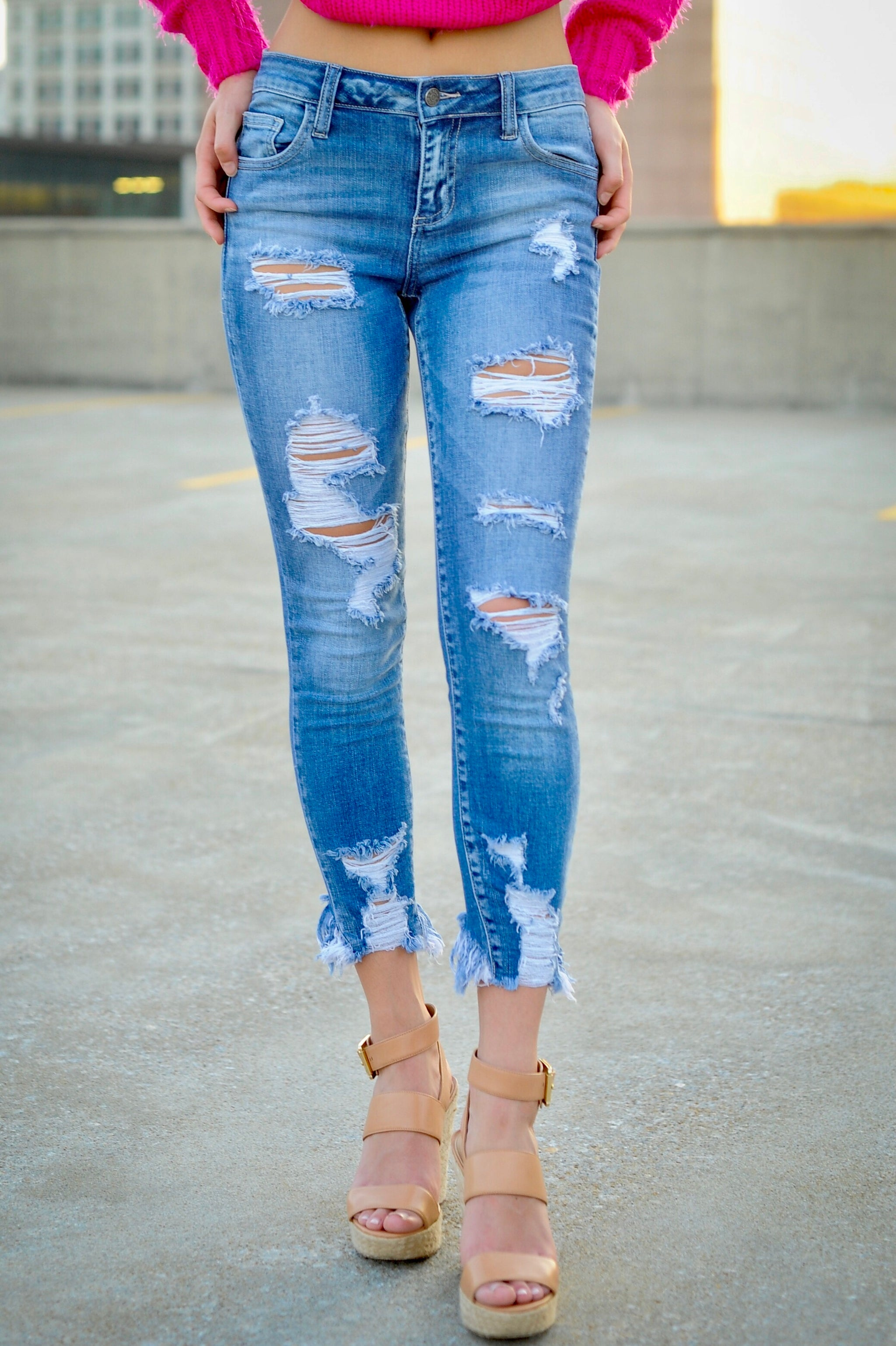 Destroyed Ankle Cut Skinnies