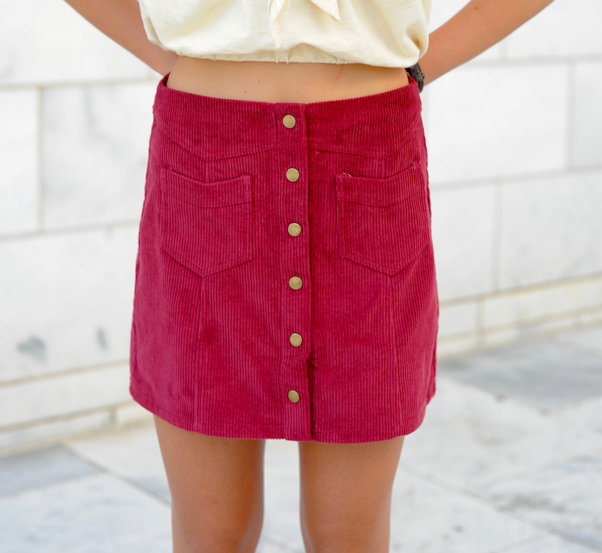 Button Up Corduroy Skirt- Wine