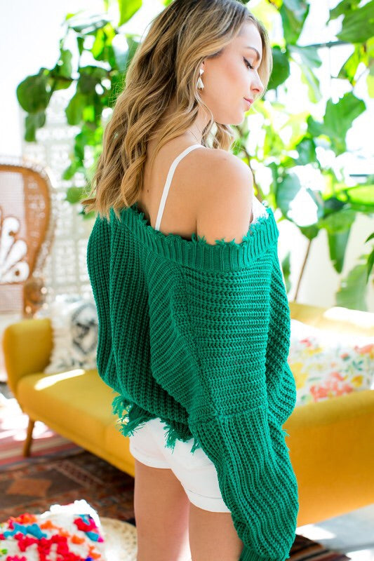 Frayed V Neck Sweater - Kelly Green